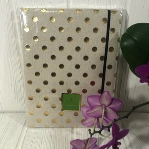 Kate Spade Folio Notepad Linen Gold Polka Dots NEW